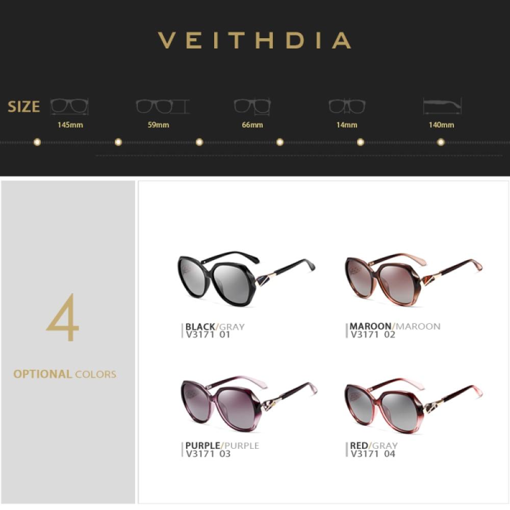 VEITHDIA TR90 แว่นตากันแดดผู้หญิงแว่นตา Polarized เลนส์แว่นตากันแดดผู้หญิง 3171