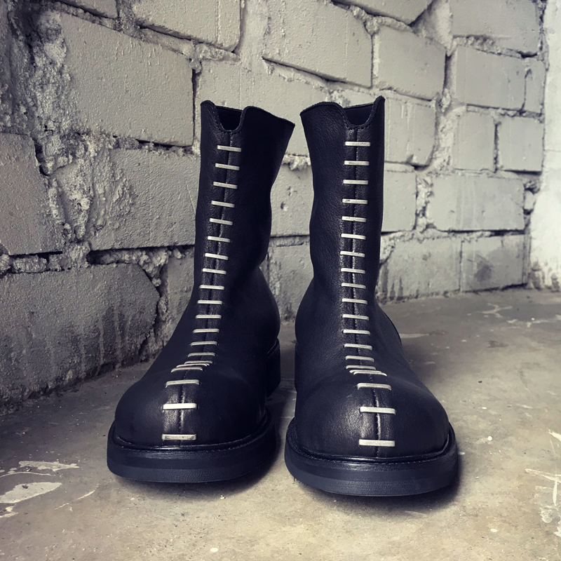 Luxury Rivets Cow Leather Boots Men Street Black Vintage Moto Biker High-Top Shoes Top Quality Punk Platform Mid-Calf Boots