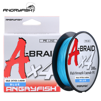 Angryfish A-trenza 327Yds/300M línea de pesca trenzada línea de pesca 4 hebras PE multifilamento línea de pesca Super Strong15-80LB