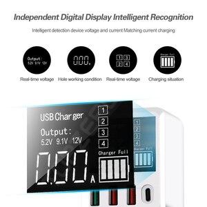 Image 4 - QC3.0 מהיר טעינת סוג C USB מטען 4 יציאות נייד טלפון מטען 30W LED תצוגה עבור iPhone סמסונג נסיעות קיר מטען