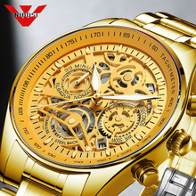 Mens Watches Clock Skeleton Gold Sport Waterproof Fashion NIBOSI Relogio Luxury Brand