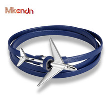 MKENDN New Airplane Anchor Bracelet charm Wrap multilayer Rope leather Bracelets For Men Women Navy Style Wrap Metal Sport Hooks mkendn 2017 fashion stainless steel anchor bracelet men black braided cowhide leather rope bracelets wrap punk charm jewelry