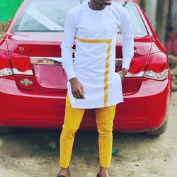 Мужские белые рубашки с круглым вырезом в стиле пэчворк и однотонные желтые брюки на заказ, африканские Модные Мужские костюмы жениха для с...