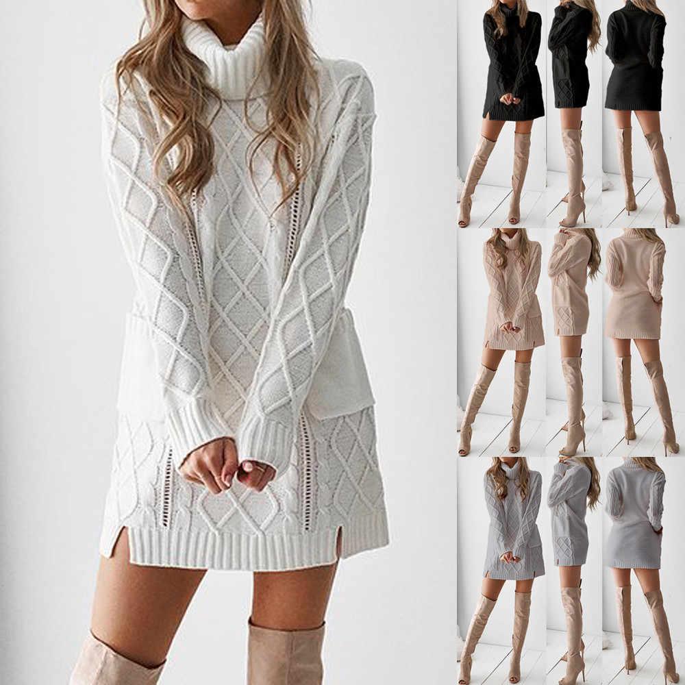 Wanita Baju Musim Dingin Merajut Hangat Berleher Tinggi Lengan Panjang Saku Gaun Mini Seksi Kasual Putih Abu-abu Pakaian Solid Gaun *