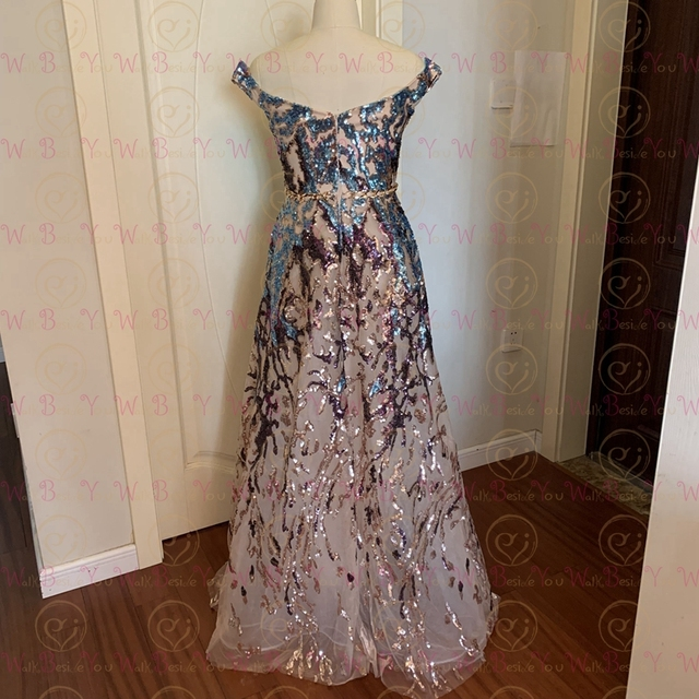 Sexy Prom Dress 2021 Colorful Sequin Off Shoulder Sweetheart Long Party A Line Formal Graduation Gown Evening Celebration Dress 2