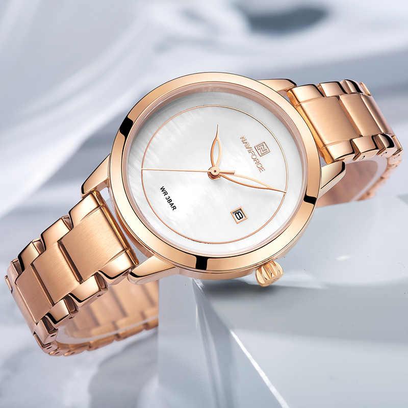 NAVIFORCE นาฬิกาแบรนด์หรูผู้หญิงนาฬิกาแบรนด์หรูนาฬิกา Quartz เลดี้กันน้ำนาฬิกาข้อมือหญิงแฟชั่น Casual นาฬิกานาฬิกา Reloj Mujer