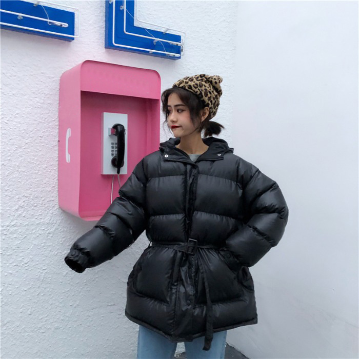 Cotton Coat Autumn 2019 New Style Long Sleeve Korean-style Versatile Students Loose Casual Middle Long Coat Tops WOMEN'S Dress F