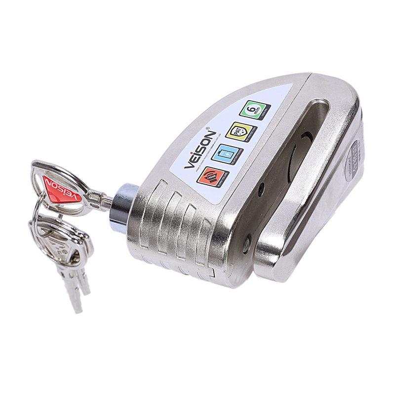 Veison Motorcycle Disc Lock Waterproof Alarm Lock Bicycle Bike Disc Lock Warning Security Anti Theft Brake Rotor Padlock—Silve