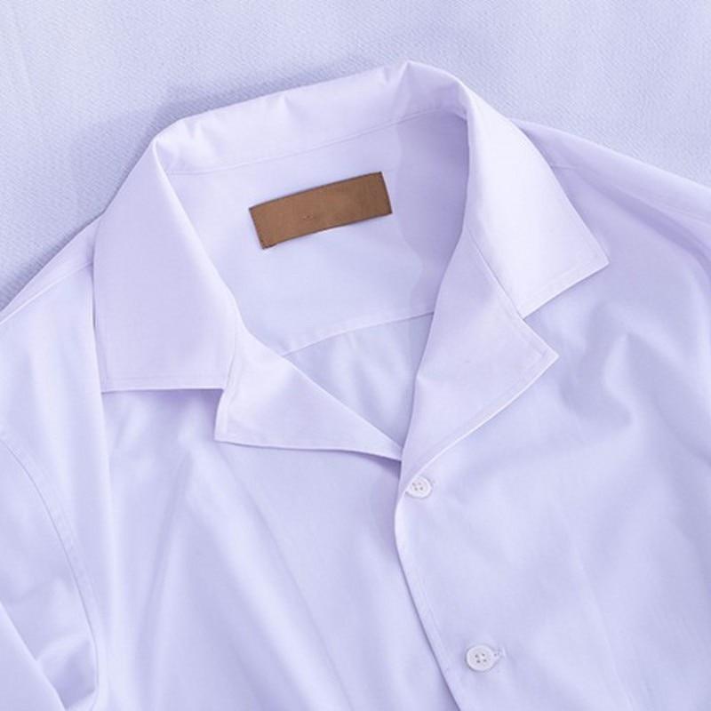Vintage Mens White Slim Fit Long Sleeve Shirt Business Man Fashion Casual Shirts Top Streetwear Summer Lapel Collar Groom Shirt - 5