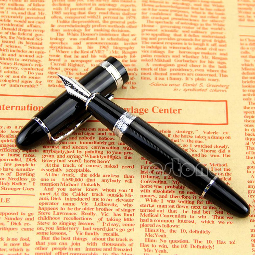 New Jinhao 159 Black And Silver M Nib Fountain Pen Thick