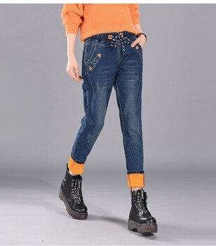 Winter Velvet Thinck Patches Elastic Waist Womens Jeans High Harem Pants Woman Scratched Stretch Denim Warm Boy Friend