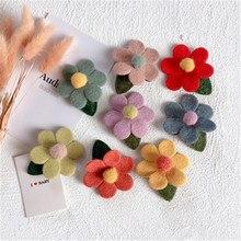 Kids Children Girl BB Hair clip Solid Flower Korean Cute Fall Winter Hairpin Head wear Accessories-SWD-W7