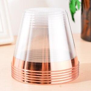 Image 5 - Одноразовые пластиковые бокалы для вина 9 унций, розовое золото, искусственные бокалы для вина, чашки для мусса, торта, роскошные бокалы для свадьбы, Рождества, вечеринки, 50 шт.