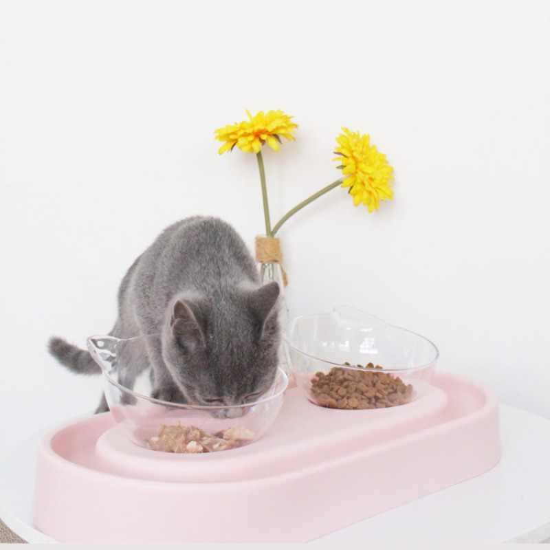Çift çanaklar evcil hayvan maması ve su kaseleri kaymaz kedi kaseler yükseltilmiş Stand kediler köpekler için besleyiciler kedi kase evcil hayvan malzemeleri