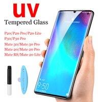 Protector de pantalla de cristal templado para HuaWei Mate 20 Mate 30 PRO Protector de pantalla de cobertura completa para P20 lite P30 Pro, película de vidrio UV 10D Nano Liquid