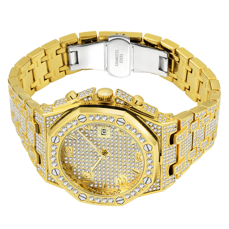 luxury mens business watches full diamonds ice out watch hip hop quartz watch for men 18k gold plated waterproof auto date male clock man drop shipping for shopify 2020 (27)