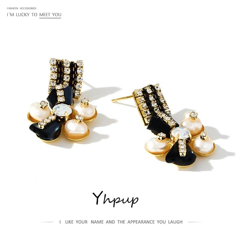 Yhpup Elegant Luxury Rhinestone Flower Dangle Earrings Natural Pearls Bridal Jewelry for Women Wedding Party S925 Post Brincos