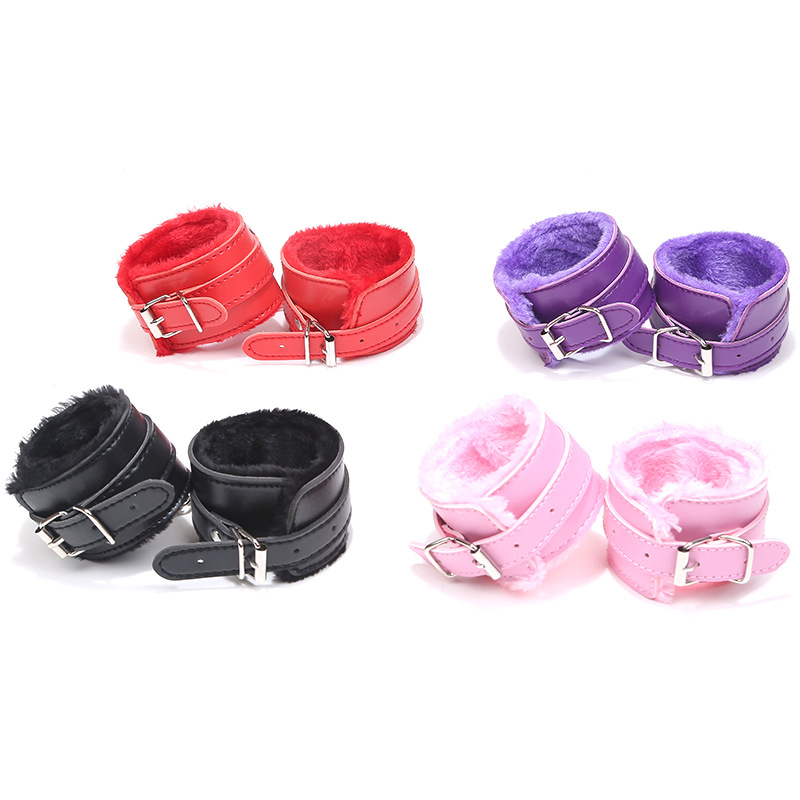 Babydoll Sexy Teddy Lingerie Adjustable PU Leather Plush Handcuffs Ankle Cuff Restraints Sexy Costumes Langeri Lenceria Products