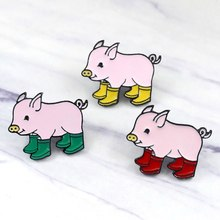 Fun Pig With Rain Boots Enamel Pins Piggy Brooches Badge Denim Jeans Lapel Pin Cartoon Cute Animal Jewelry Kids Friends Gift(China)
