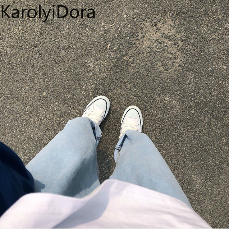 Jeans Women Solid Vintage High Waist Wide Leg Denim Trousers Simple Students All-match Loose Fashion Harajuku Womens Chic Casual 5