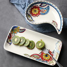 kitchen accessories Korean-style hand-painted ceramic sushi dish Household rectangular cake irregular salad bowl