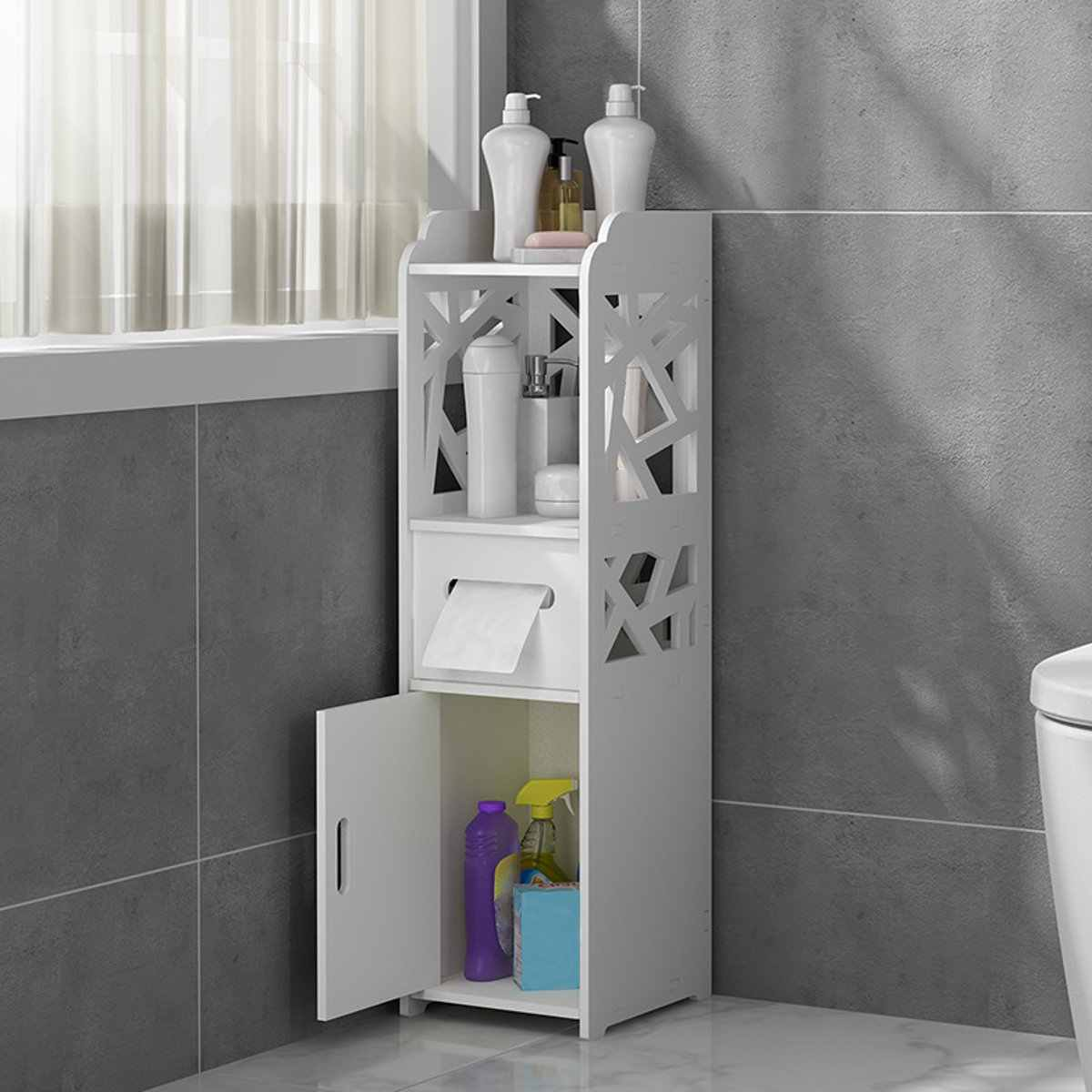 Narrow Bath Sink Organizer Small Bathroom Storage Corner Floor Cabinet With Doors And Shelves Thin Toilet Vanity Cabinet Storage Holders Racks Aliexpress