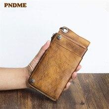 PNDME retro genuine leather men's clutch wallet real cowhide designer large-capacity multi-card card holder women's phone purse