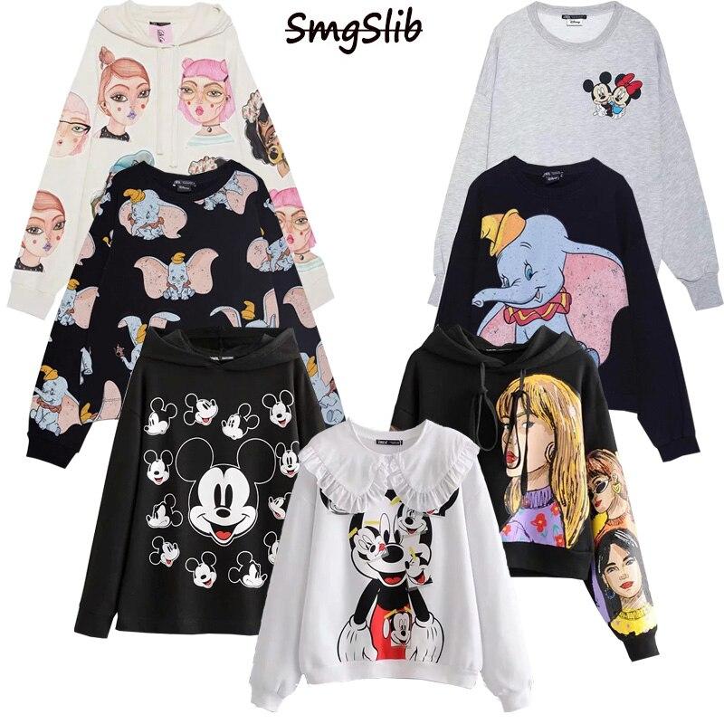 Cute Dumbo Print Sweatshirt Women Hoodies Cartoon Pullover Oversize Long Sleeve Sweatshirts Winter Casual Pullover Women Clothes