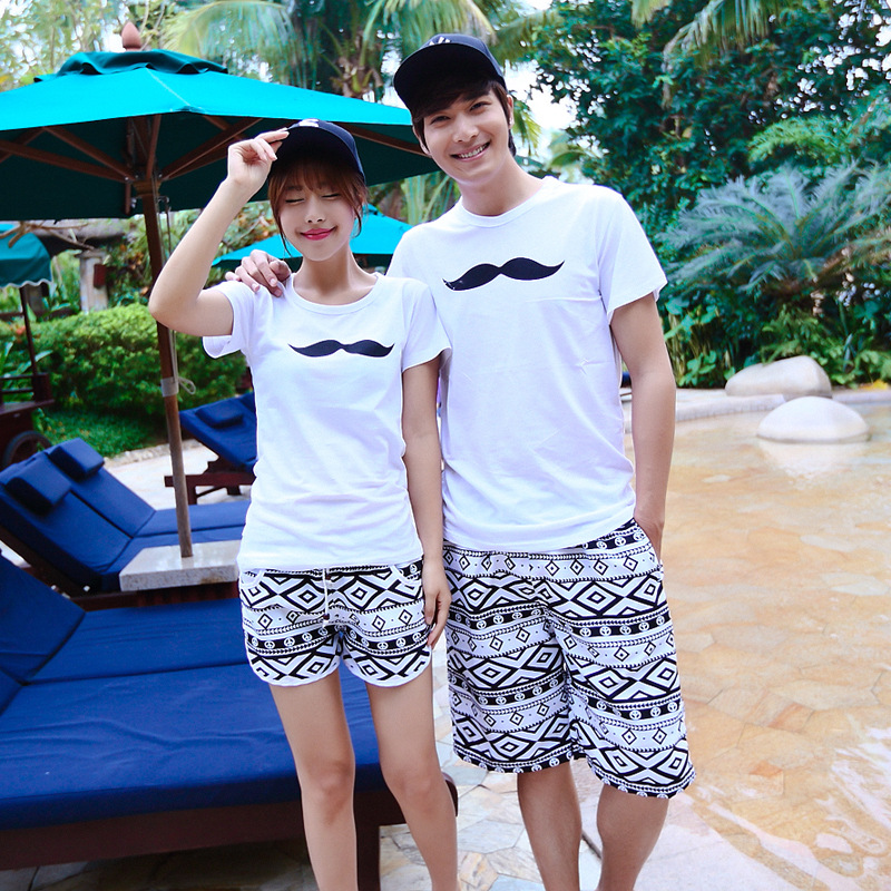 Beach Shorts Couples Shang Hai Feng Graceful New Style Europe And America Dacron Black And White Edge Seaside Holiday Swimming S