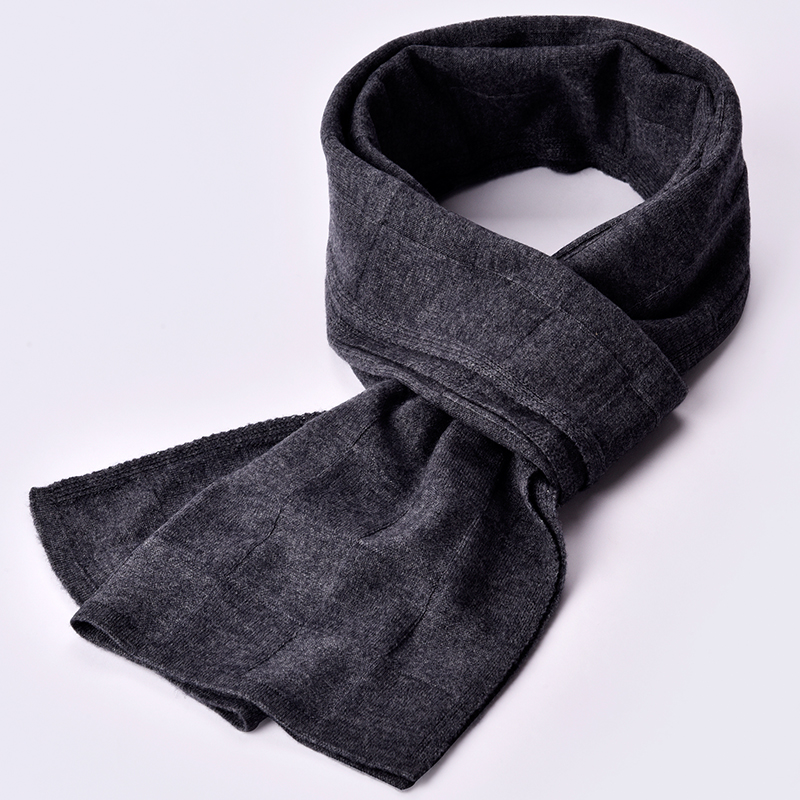 Winter 100% Lamb Wool Scarf For Men Brand 2019 Solid Warm Echarpe Wraps Man's Pashmina Muffler Foulard Black Real Wool Scarves
