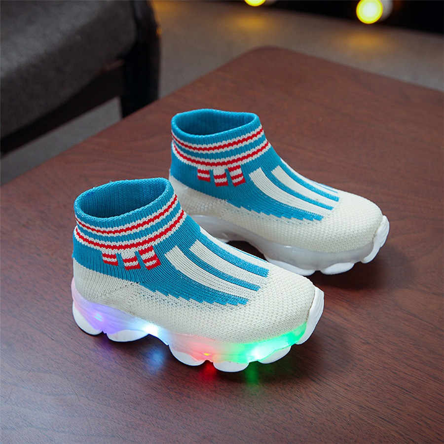 Sapatas do esporte crianças luminosa led corrida leve sapatos de crianças sapatilhas menino meninas tênis luzes de futebol futbol krampon orjinal #40J30