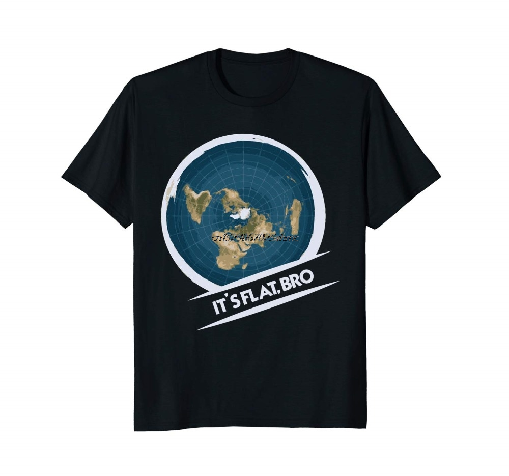 Flat Earth T-Shirt: Flat Bro Flat Earther Society Conspiracy New 100% T-Shirts Men T Shirt Clothing Plus Size Tees