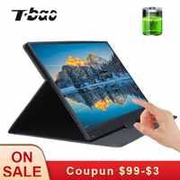 T-bao Touch Screen Tragbare Monitor 1920x1080 HD IPS 15,6-zoll Display Monitor 8000mAh Wiederaufladbare batterie mit Leder Fall