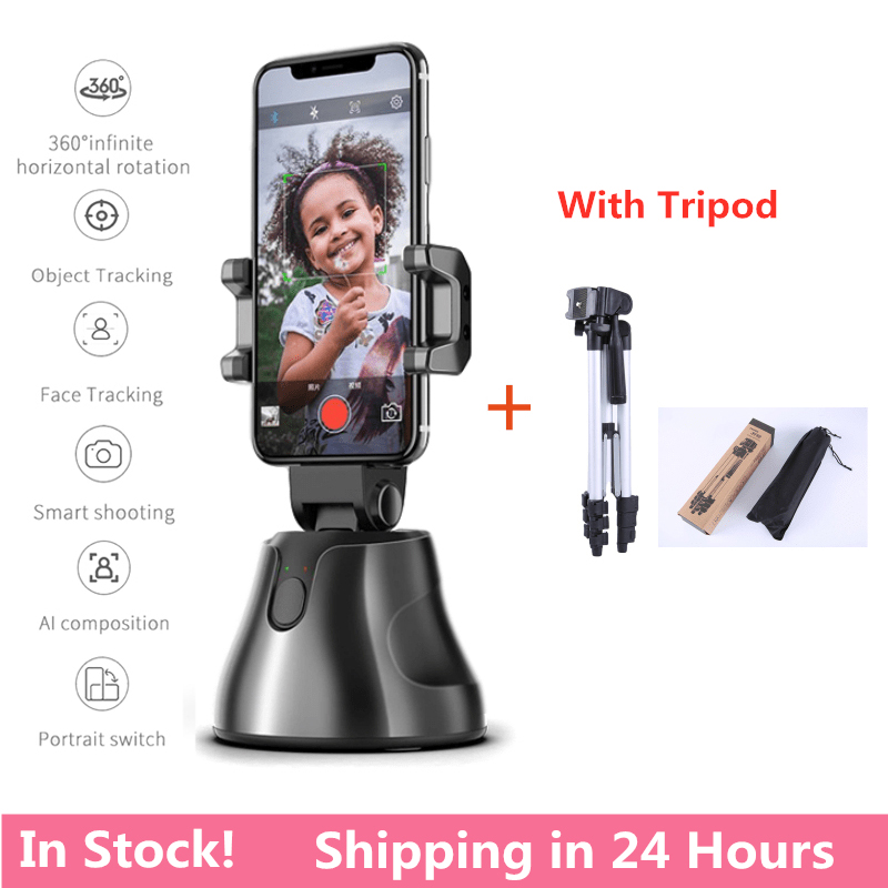 360° Selfie Shooting Gimbal With Tripod Face Object Tracking Selfie Stick For Smartphone Camera For Vlog Live Photo Video