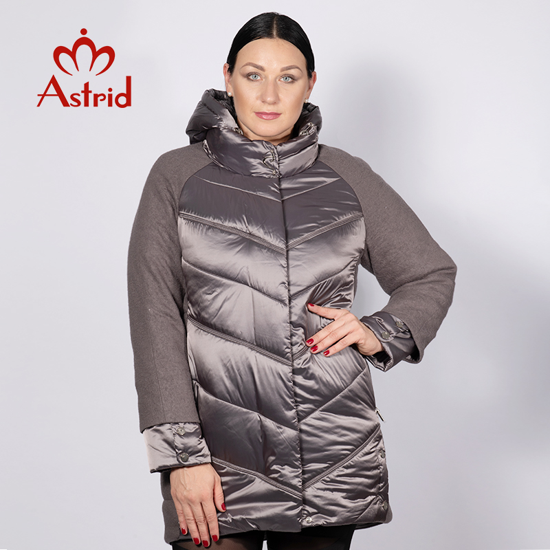 Astrid 2019 Winter Jacket Women Autumn Warm Hooded High Quality Winter Splice Jacket Coat Women New Collection AM-2210