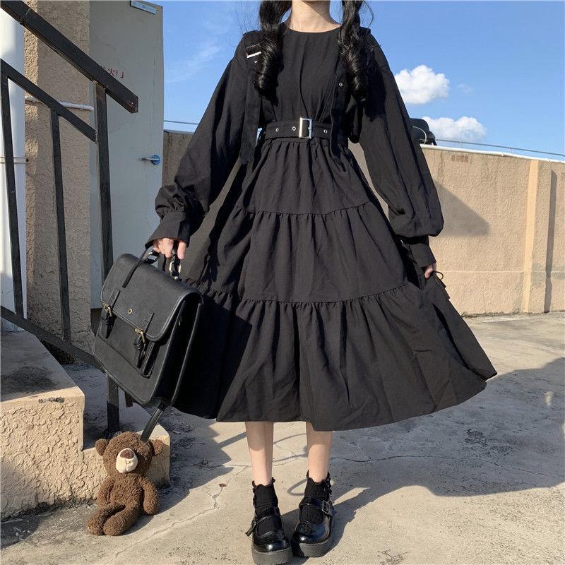 QWEEK Vintage Lolita Gothic Dress 2021 Japanese Harajuku Sweet Lolita Streetwear Women Dress Gothic Punk Long Sleeve Dress Women