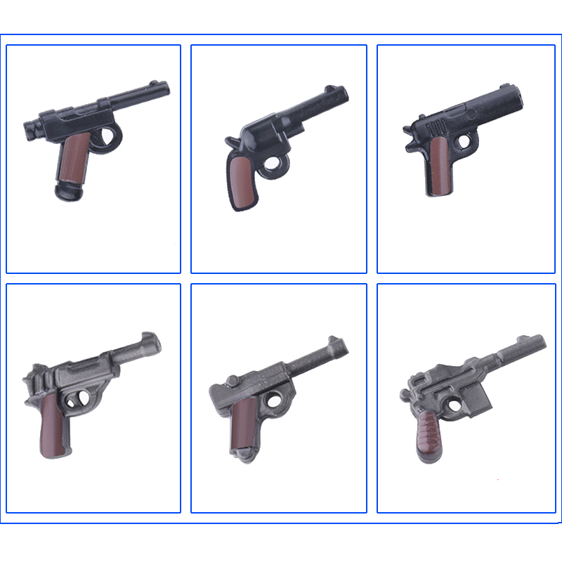 10pcs Multicolor Pistol Weapons Military Building Blocks handgun Model Army Soldier Figures Moc Army weapon Accessories Bricks image