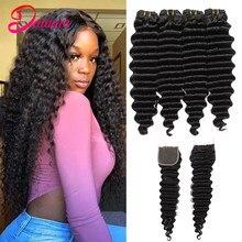 Peruvian Deep Wave Hair 4 Bundles With Closure 100%Human Hair Bundles with 4x4 Lace Closure Natural Black Color Dainaer Hair