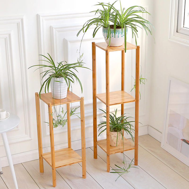 Bamboo Home Balcony Racks Creative Flower Racks Fleshy Green Flower Pot Rack Living Room Indoor Flower Stand Landing