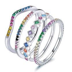Bamoer kolor tęczy pierścionki z kwadratowymi cyrkoniamii dla kobiet wieżowych ślubne ozdobne autentyczne srebro 925 biżuteria SCR583