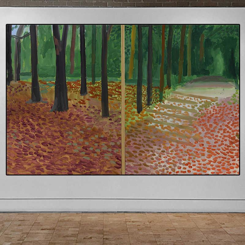 David Hockney Pohon dan Daun R Besar Kanvas Lukisan Poster Besar Dinding Seni Cetak Giclee untuk Ruang Tamu, Kamar kamar Tidur Pemandangan Gambar