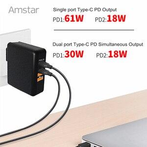 Image 3 - Amstar 61 w 듀얼 usb c 타입 c pd 고속 충전기 macbook pro air 화웨이 hp 노트북 태블릿 듀얼 빠른 충전 3.0 전원 어댑터