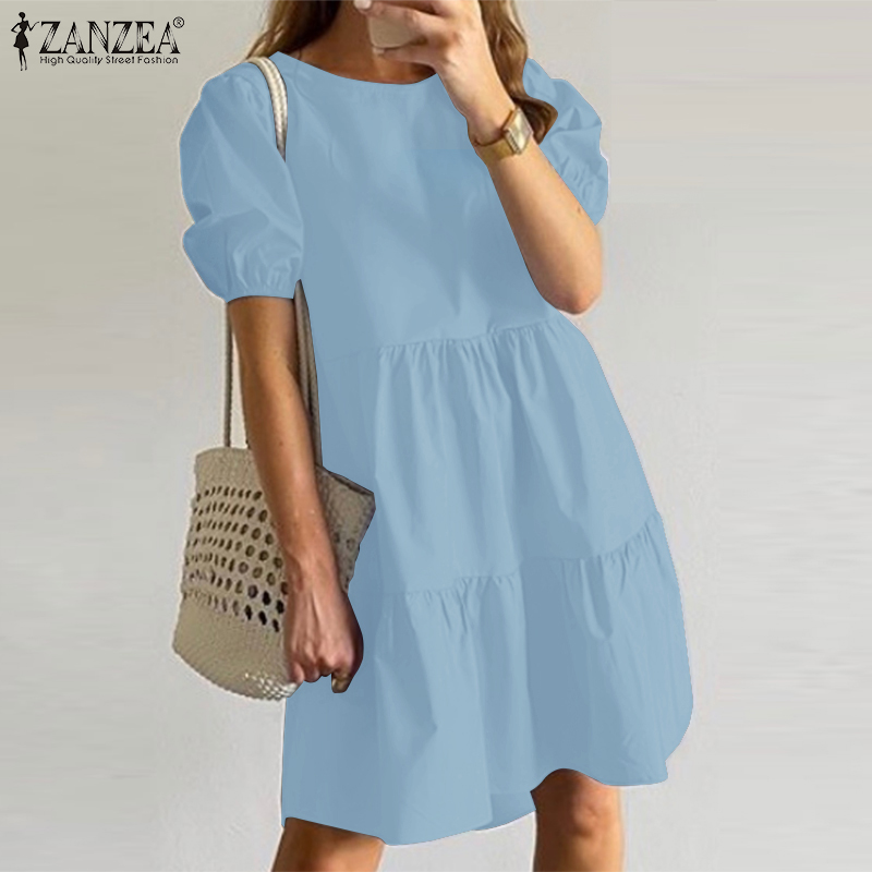 ZANZEA-Vestido corto informal de verano con manga abombada, traje veraniego con volantes para mujer, hasta la rodilla, color liso, de talla grande