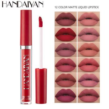 12 Colors Lipsticks Women Cosmetics Matte Sexy Long Lasting Waterproof Non-stick Cup Easy To Color Smooth Lip Gloss Makeup TSLM1 1