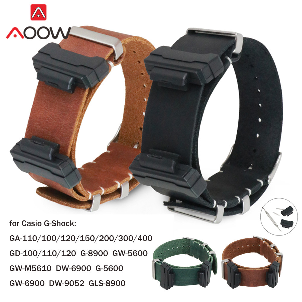Genuine Leather Nato Watchband For Casio G-Shock GA-100 GA-110 GA-120 GD-110 DW-5600 Men Bracelet Strap Band With Adapters Tools