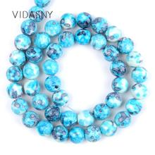 Blue Rain Flower Stone Natural Round Loose Beads For Jewelry Making 4mm-12mm Spacer Diy Bracelet Necklace 15 Wholesale