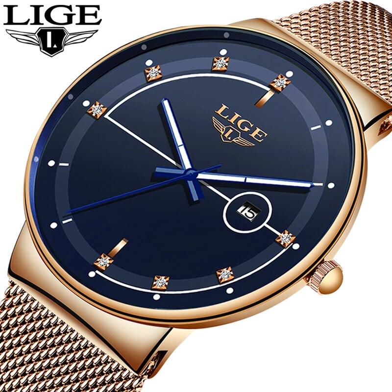 LIGE Fashion Mens Watches Top Brand Luxury Ultra Thin Quartz Watch For Men Mesh Strap Waterproof Gold Watch Relogio Masculino