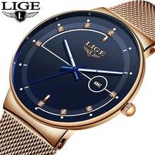 Lige moda dos homens relógios de topo marca luxo ultra fino relógio de quartzo para homens malha cinta à prova dwaterproof água relógio de ouro relogio masculino