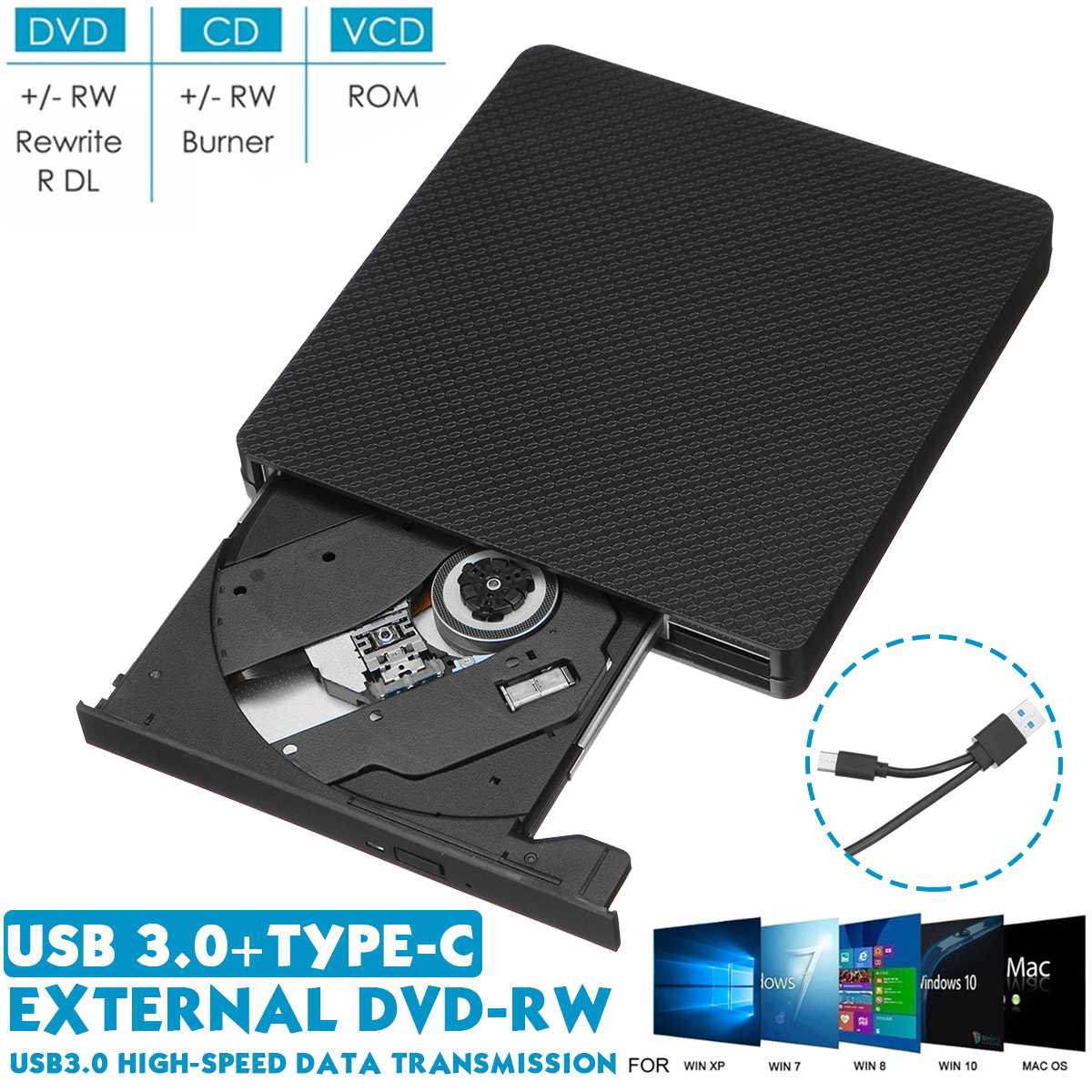 External <font><b>USB</b></font> <font><b>3.0</b></font>/Type-c <font><b>DVD</b></font> RW CD Writer Slim Carbon Grain <font><b>Drive</b></font> Burner Reader Player For PC Laptop Optical <font><b>Drive</b></font> image