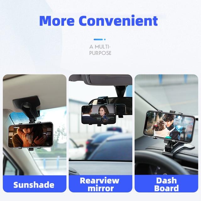 ANMONE Dashboard Car Phone Holder 360 Degree Mobile phone Stands Rearview Mirror Sun Visor In Car GPS Navigation Bracket 3
